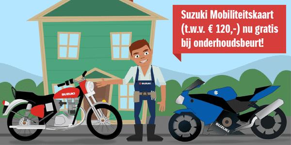 Actie bij onderhoudsbeurt – Gratis Suzuki Mobiliteitskaart (t.w.v. € 120,-) –