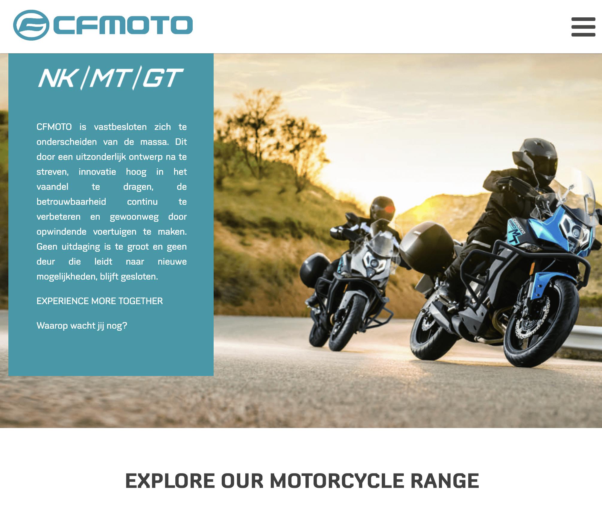 CFMoto: een nieuwe website en CFMotoDays