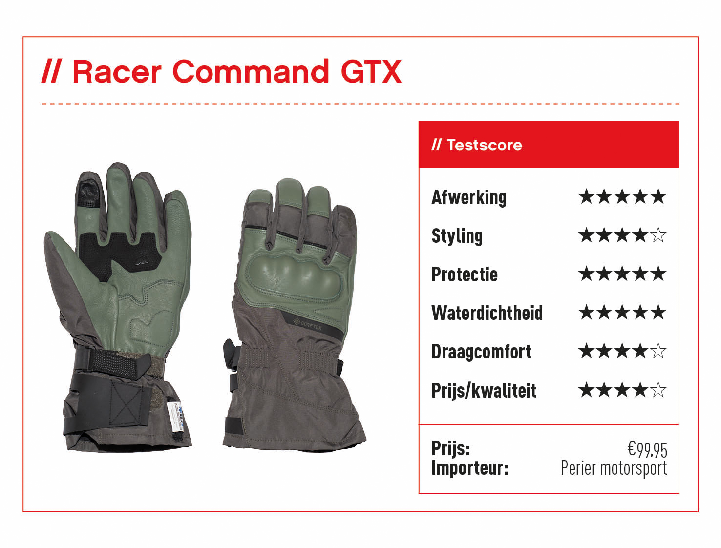 Racer Command GTX handschoenen met beoordeling