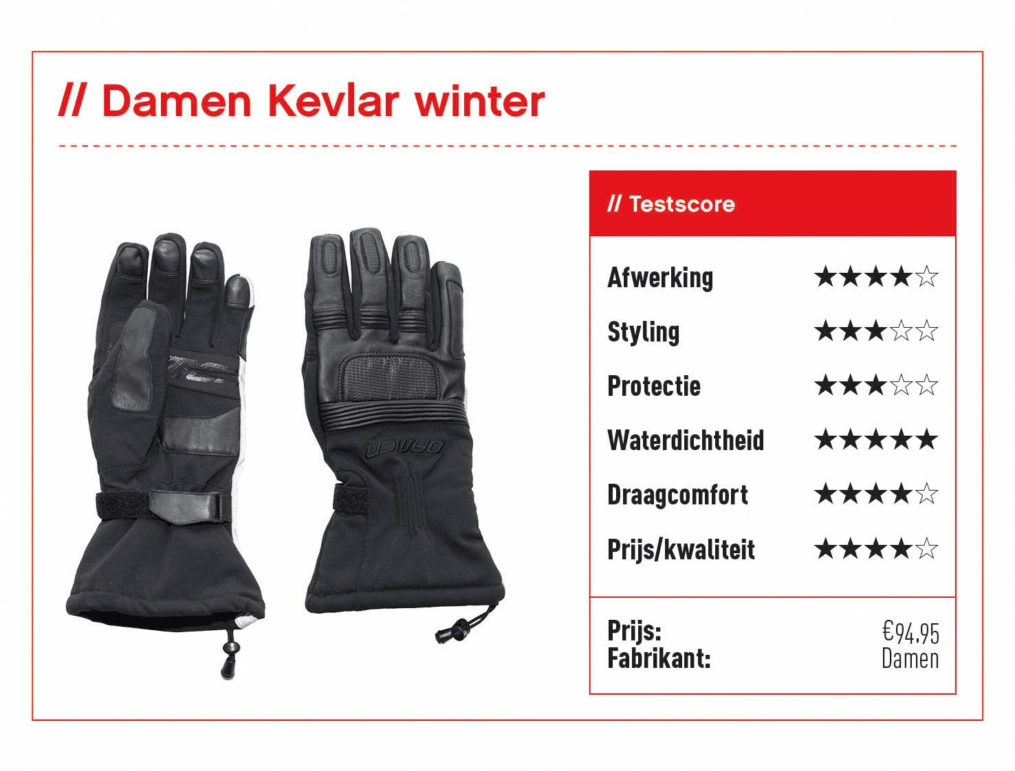 Damen Kevlar Winter handschoenen met score