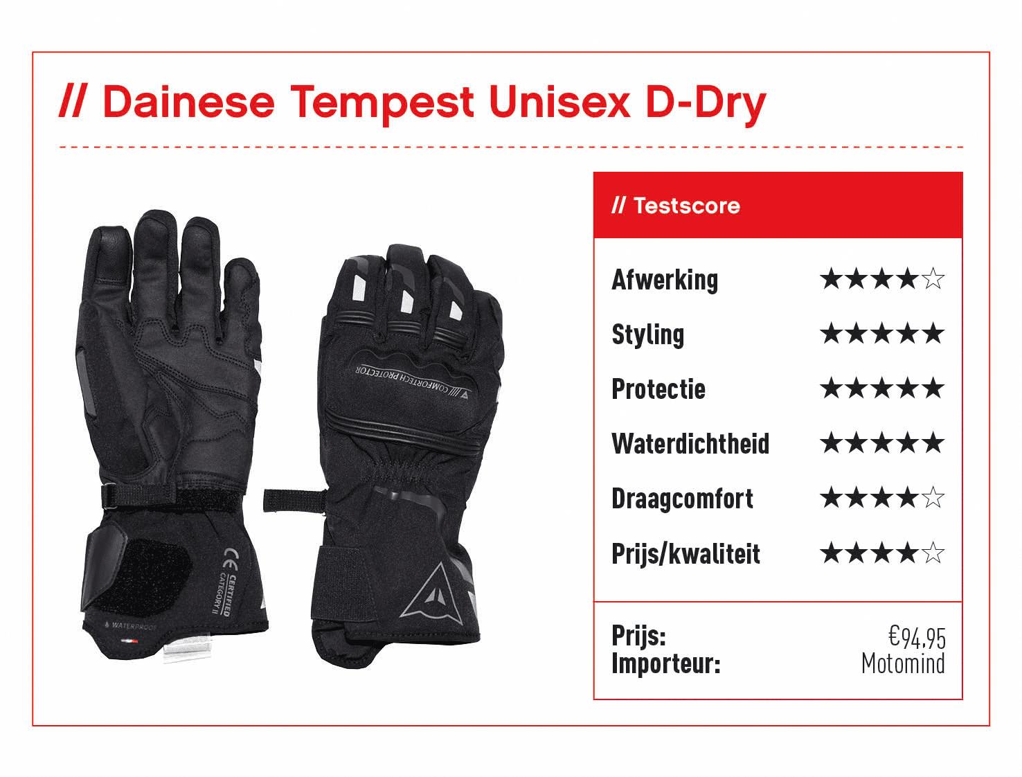 Dainese Tempest Unisex D-Dry handschoenen met score