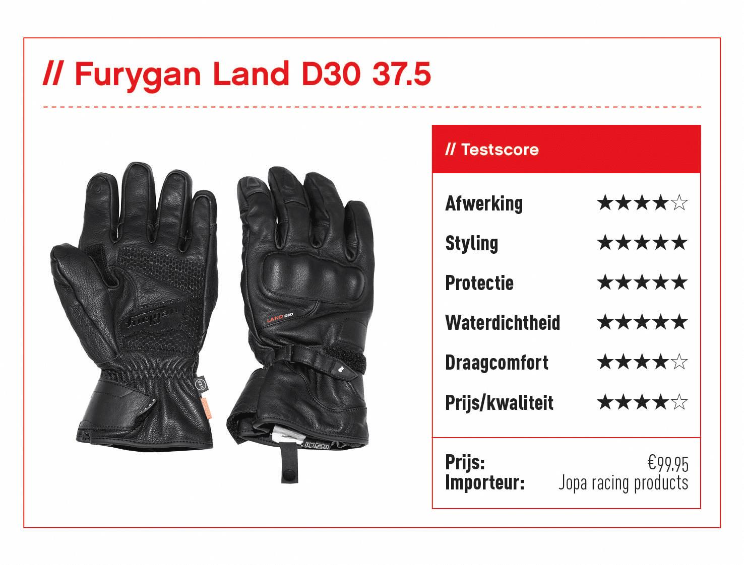 Furygan Land D30 37.5 handschoenen met score
